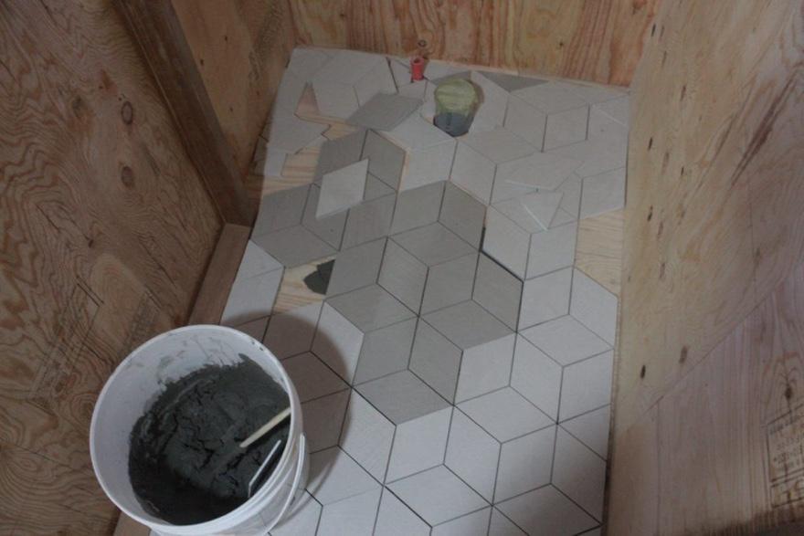 トイレ床のタイルDIY